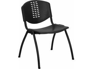 Flash Furniture HERCULES Series 880 lb. Capacity Black Polypropylene Stack Chair with Black Frame Finish