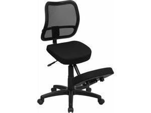 Flash Furniture Mobile Ergonomic Kneeling Task Chair with Black Curved Mesh Back and Fabric Seat [WL-3425-GG] - OEM