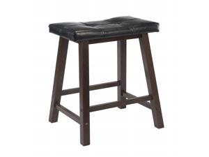 WinsomeTrading 94064 29 in. Cushion Saddle Seat Stool, Black Faux Leather, Wood Legs, RTA - Antique Walnut