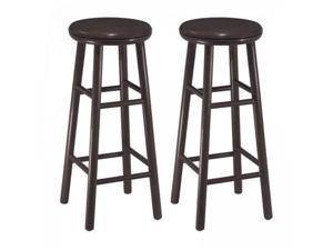 WinsomeTrading 92794 Set of 2, 24 in. Swivel Kitchen Stool, Assembled - Dark Espresso
