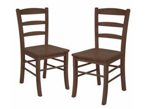 Winsome 94232 Ladder Back Chair in Anitque Walnut- Set of 2