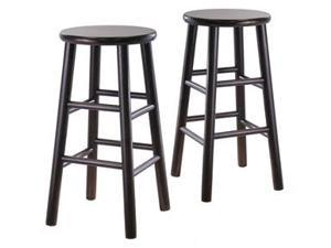 "Winsome 92784 2-Piece 24"" Bevel Wood Stools (Espresso)"