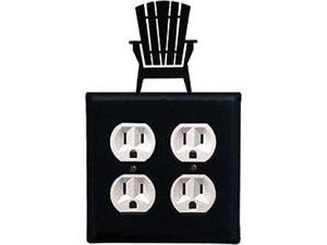 Village Wrought Iron EOO-119 Adirondack Chairs Double Outlet - Black