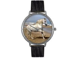 Andalusian Horse Black Leather And Silvertone Photo Watch #T0110021