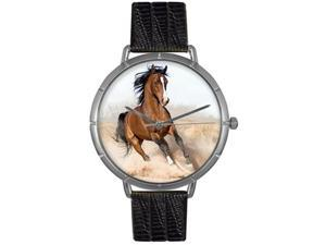 Arabian Horse Black Leather And Silvertone Photo Watch #T0110023