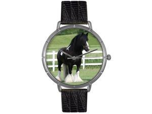 Gypsy Vanner Horse Black Leather And Silvertone Photo Watch #T0110026