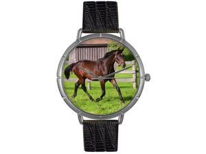 Hanoverian Horse Black Leather And Silvertone Photo Watch #T0110027