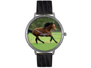 Holsteiner Horse Black Leather And Silvertone Photo Watch #T0110028