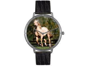 Quarter Horse Black Leather And Silvertone Photo Watch #T0110030
