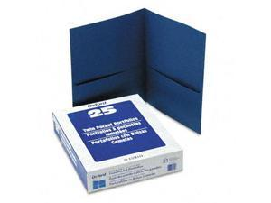 Esselte Pendaflex 57502 Twin-Pocket Portfolio  Embossed Leather Grain Paper  Royal Blue