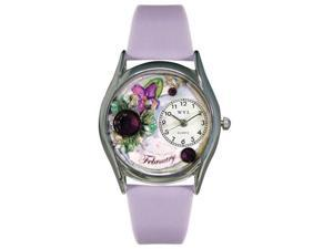 Whimsical Watches S0910002 Birthstone: February Purple Leather And Silvertone Watch