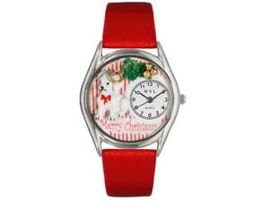 Whimsical Watches S1221010 Christmas Puppy Red Leather And Silvertone Watch