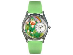 St.Patrick's Day Rainbow Green Leather And Silvertone Watch #S1224002
