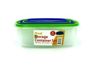 4 Pack oval storage containers with lids - Pack of 4