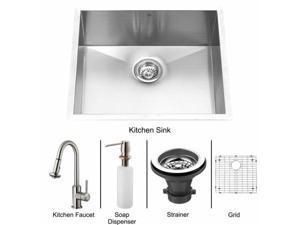 Vigo VG15073 Undermount Stainless Steel Kitchen Sink, Faucet, Grid, Strainer and Dispenser