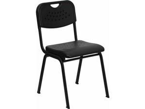 Flash Furniture HERCULES Series 880 lb. Capacity Black Plastic Stack Chair with Black Powder Coated Frame [RUT-GK01-BK-GG] - OEM