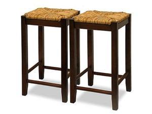 Winsome  94770 Rush Seat  29 Inch Beechwood Stool - Antique Walnut - Set of 2
