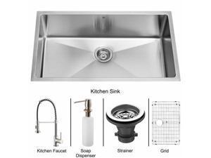 Vigo VG15078 Undermount Stainless Steel Kitchen Sink, Faucet, Grid, Strainer and Dispenser