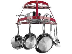 Range Kleen CW6003 Double Shelf Wall Hanging Pot Rack - Red