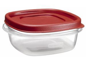 Rubbermaid 1.25 Cup Square Chili Red Easy Find Container  1777084