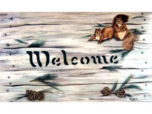 Custom Printed Rugs Dm-38 Squirrels & Pinecones Door Mat