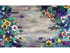 Custom Printed Rugs Dm-44 Weatherwood Pansy Door Mat