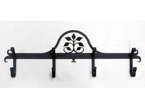 Village Wrought Iron CB-109 Wall Mounted Wrought Iron Coat Rack-Hooks - Leaf Fan