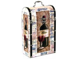 Pinnacle Strategies Leather & Wood Wine Suitcase Decor  WXA513-35-UPS