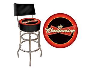 Budweiser Bowtie Red-Black Padded Bar Stool with Back
