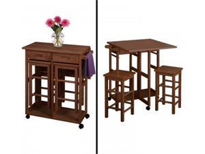 WinsomeTrading 39330 Space Saver with 2 Stools, Square - Teak