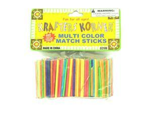 Multi-colored wood craft matchsticks - Pack of 75