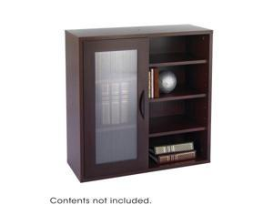 Safco 9444MH Mahogany Apres Modular Storage Single Door/ Open Shelves