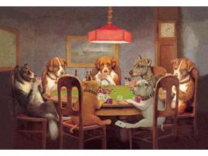 Buyenlarge 00000-7P2030 Passing the Ace Under the Table - Dog Poker 20x30 poster
