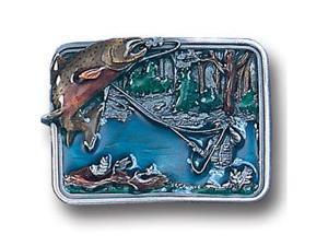 Siskiyou Gifts P146E Belt Buckle- Fishing in River