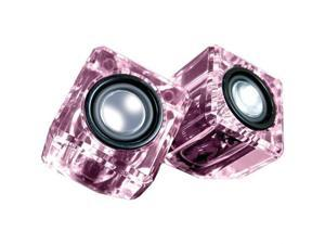 Isound DGUN-2527 Ice Crystal Clear Compact Speakers - Pink