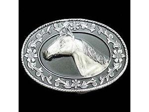 Siskiyou SportsA4000D Pewter Belt Buckle- Horse Head -Diamond Cut
