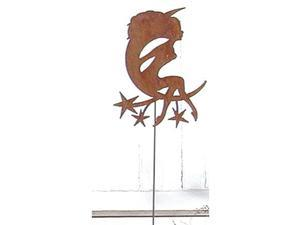 Village Wrought Iron RGS-60 Girl on Moon Rusted Garden Stake