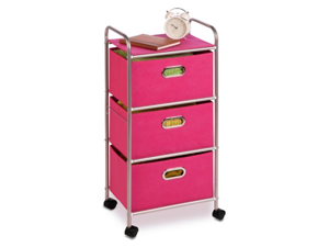 Honey-Can-Do International CRT-02348 3 Drawer Rolling Cart Pink