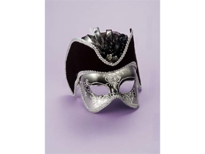 WMU 564176 Silver Venetian Mask with Black Hat
