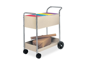 Fellowes Mfg. Co. Fellowes Mfg. Co. Steel Mail Cart, 20 in.x40-.5 in.x39 in., Gray-Silver Chrome