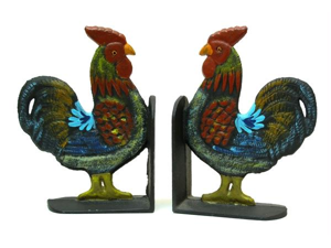 IWGAC 0170S-04408 Cast Iron Rooster Bookends Set