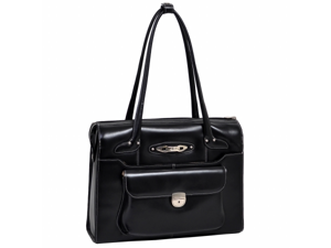 McKlien 96665 Wenonah 96665- Black Leather Ladies Briefcase