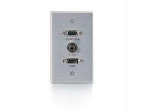 C2G 41034 SINGLE GANG HDMI  HD15 VGA  AND 3.5MM WALL PLATE - BRUSHED ALUMINUM