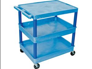 Luxor BUTC211BU Utility Cart with 3 Shelf - Blue