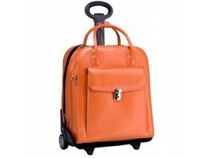 McKlien 96490 La Grange 96490- Orange Leather Vertical Detachable-Wheeled Ladies Briefcase