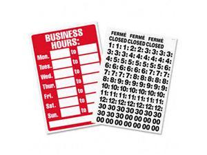 Business Hours Sign w/Vinyl Characters, Poly Resin, 8 x 12, Red/White