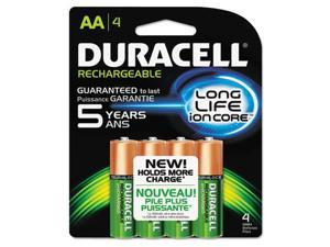Duracell NLAA4BCD Rechargeable NiMH Batteries with Duralock Power Preserve Technology, AA, 4-Pk