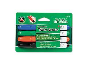 Dixon 92040 White System Dry Erase Marker, Chisel Tip, Assorted Colors, 4-Set