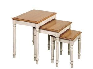 Office Star CC19 3pc. Nesting Tables- Antique White and Cherry