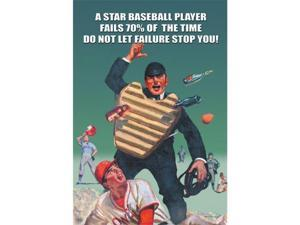 A Star Baseball Player Fails 70 Percent of the Time -Don't let Failure Stop You 12x18 Giclee On Canvas